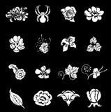 De bloemen Elementen van het Ontwerp van de Reeks van het Pictogram Vastgestelde Stock Foto