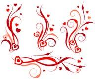 De bloemen elementen van het wervelingsontwerp met harten Stock Afbeeldingen