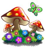 De Bloemen en Butterlfy van de paddestoel Royalty-vrije Stock Fotografie