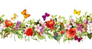 De bloemen en de vlinders van de de zomerweide Het herhalen van kader watercolor stock fotografie