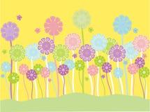 De bloemen en de vlinders van de pastelkleur stock illustratie