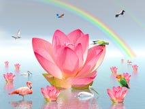 De bloemen en de vogels van de lelie onder regenboog Royalty-vrije Stock Foto