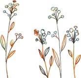 De bloemen en het gras van de lijntekening Stock Afbeelding