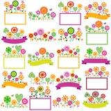 De bloemen geplaatste kaders van de de lentetijd Royalty-vrije Stock Foto's
