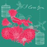 De bloemen kaart van de vakantieValentijnskaart Royalty-vrije Stock Foto's