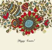 De bloemen Kaart van Pasen met Eieren Royalty-vrije Stock Afbeeldingen