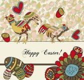 De bloemen Kaart van Pasen met Eieren Stock Foto's