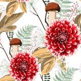 De bloemen, de kruiden en de paddestoelen naadloos patroon van de de herfstdahlia royalty-vrije stock afbeeldingen