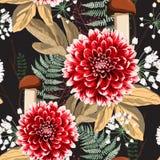 De bloemen, de kruiden en de paddestoelen naadloos patroon van de de herfstdahlia royalty-vrije stock foto's
