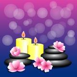 De bloemen kuuroord van achtergrondbamboecandles Spa stenen voor banner vector illustratie