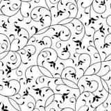 De bloemen oosterse zwarte isoleerde naadloze achtergrond Stock Afbeelding