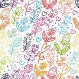 De bloemen schetsen naadloos patroon Stock Foto