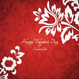 De bloemen uitstekende kaart van de Valentijnskaart Royalty-vrije Stock Afbeelding