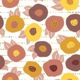 De bloemen van de dalingskrabbel en gouden folie naadloos patroon stock illustratie