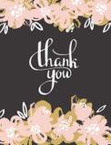 De bloemen van de groetkaart - dank u Het vectorhand schilderen royalty-vrije illustratie
