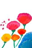 De bloemen van de kleur in geschilderde waterverfhand Stock Afbeeldingen