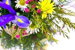 De Bloemen van de lente in Mand Stock Foto