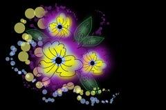 De bloemen van de tekening op een zwarte achtergrond Stock Afbeeldingen