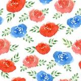 De bloemen van de waterverf Naadloos patroon Royalty-vrije Stock Afbeeldingen