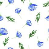 De bloemen van de waterverf Naadloos patroon stock afbeeldingen