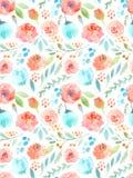 De bloemen van de waterverf Naadloos patroon Leuke rozen Stock Afbeelding
