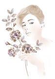 De bloemen van de waterverfillustratie en Portret van mooie vrouw op eenvoudige achtergrond Royalty-vrije Stock Fotografie