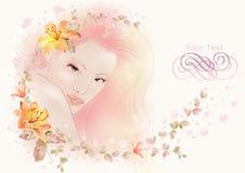 De bloemen van de waterverfillustratie en Portret van mooie vrouw op eenvoudige achtergrond Stock Fotografie