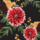 De bloemen van de de herfstdahlia, kruiden en geel paddestoelen naadloos patroon royalty-vrije stock afbeeldingen