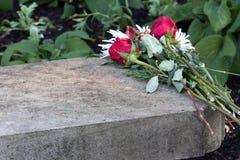 De bloemen van het huwelijksvoorstel verlaten op steen over vakantieseizoen Stock Afbeelding