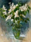 De bloemen van het olieverfschilderij Stock Afbeeldingen