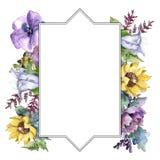 De bloemen van het waterverfboeket Bloemen botanische bloem Het ornamentvierkant van de kadergrens stock illustratie