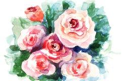 De bloemen van rozen, waterverf het schilderen Stock Afbeelding