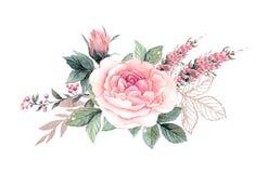 De bloemen van de waterverf bloemenillustratie, Blad en knoppen Botanische samenstelling voor huwelijk of groetkaart royalty-vrije stock fotografie