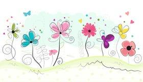De bloemen vectorachtergrond van krabbel abstracte kleurrijke bloemen Stock Fotografie