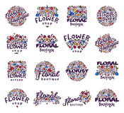 De bloemen vectorillustratie van het winkelkenteken Stock Fotografie