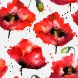 De bloemen vectortextuur van de waterverf hand-drawn papaver Stock Foto