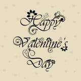 De bloemen verfraaide Gelukkige tekst van de Dag van Valentijnskaarten Royalty-vrije Stock Afbeelding