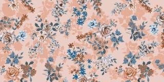 De bloemen zijn volledig van Romaans, het de bladeren en ontwerp van de bloemenkunst stock illustratie