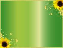 De bloemen zonnebloemen van het hoekontwerp vector illustratie