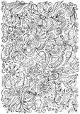 De bloemenachtergrond van de fantasiekrabbel Stock Foto