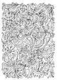De bloemenachtergrond van de fantasiekrabbel Stock Foto's