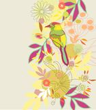 De bloemenachtergrond van de kleur met vogel Stock Fotografie
