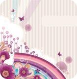 De bloemenachtergrond van het beeldverhaal Stock Fotografie