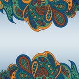 De bloemenachtergrond van het krabbel etnische patroon Stock Afbeeldingen