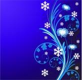 De bloemenachtergrond van Kerstmis met sneeuwvlok Stock Afbeelding