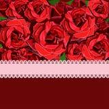 De bloemenachtergrond van rood nam met roze lint toe Stock Afbeeldingen