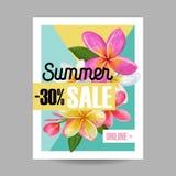 De Bloemenbanner van de de zomerverkoop Seizoengebonden Korting die met Roze Plumeria-Bloemen adverteren De tropische Paradijslen royalty-vrije illustratie