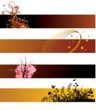 De bloemenbanners van Grunge Stock Fotografie