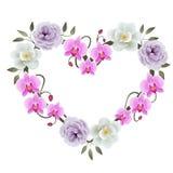 De bloemendecoratie van het hartkader met magnolia's, pioenen en orchideeënvector stock illustratie