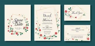 De bloemenhuwelijksuitnodiging, sparen de datum, dankt u, rsvp kaartontwerpsjabloon Vector Uitstekende rood nam bloemvector toe stock foto's